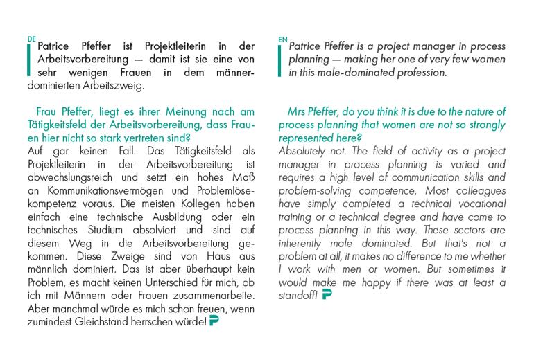 Sprachhinweis in Mitarbeiterzeitschrift